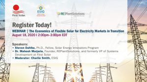 Webinar: The Economics of Flexible Solar for Electricity Markets in Transition